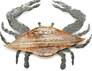 Parisloft 3D Wood and Galvanized Ocean Theme Wall Hanging Decor (Crab), Rustic Farmhouse Decor for Living Room or Bedroom Decorations