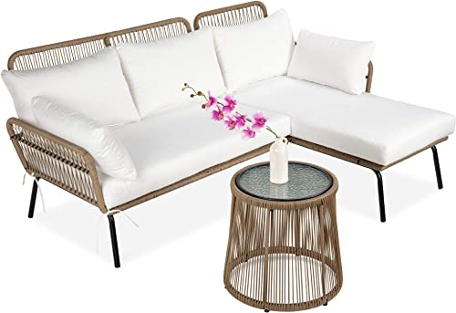Best Choice Products Outdoor Rope Woven Sectional Patio Furniture L-Shaped Conversation Sofa Set