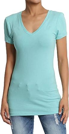 Womens Stretch Cotton V Neck Plain Red T-shirt Short Sleeve Ladies Plus Size