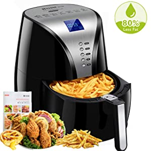 Habor Air Fryer, 3.8QT Oilless Hot Air Fryer xl Oven, 7-in-1 Electric Hot Air Cooker, 1500W Power Air Fryer Auto Off and Memory Function, Digital LCD Screen, Dishwasher Safe (Recipes Included)