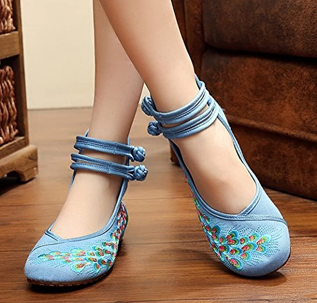 Kool Classic Womens Casual Peacock Embroidery Mary Jane Shoes