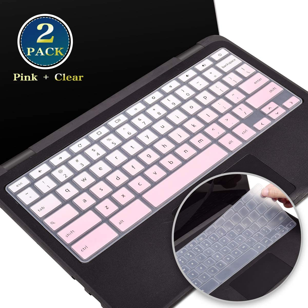 2 Pack Silicone Keyboard Cover for Dell Chromebook 13 3380, Dell 11.6 Chromebook 3100 3120 3180 3189 5190 3181 C3181 P22T,Dell Chromebook Keyboard Protector 11.6 Inch(Pink+Clear)