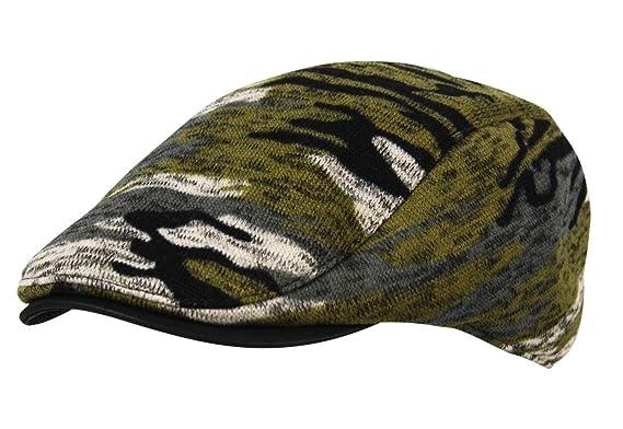0c5329a8634 Itzu Faux Leather Trim Cabbie Ivy Newsboy Flat Cap in Woodland Army Camo  Green