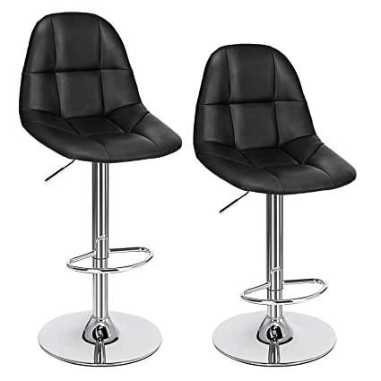f3583631b3b9 Image Unavailable. Image not available for. Color  SONGMICS Set of 2 PU  Adjustable Swivel Bar Stools ...