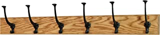 product image for PegandRail Solid Oak Wall Mounted Coat Rack - Large Black Mission Hooks - Made in The USA (Golden Oak, 30.5 x 3.5-6 Hooks)