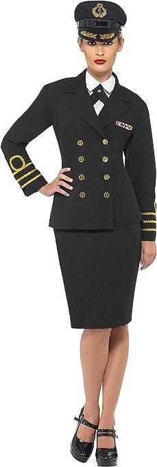 Smiffys Disfraz de Oficial de la Marina, Mujer, Negro, Chaqueta ...