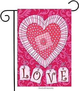 "Briarwood Lane Patchwork Heart Valentine's Day Garden Flag Holiday 12.5"" x 18"""