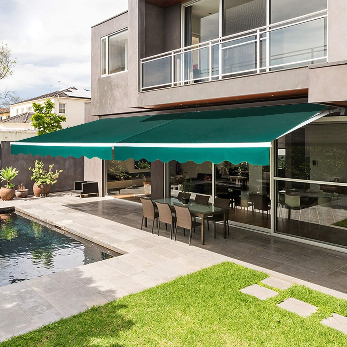 AECOJOY 8.2'×6.5' Patio Awning Retractable Sun Shade Awning Cover Outdoor Patio Canopy Sunsetter Deck Awnings with Manual Crank Handle, Dark Green