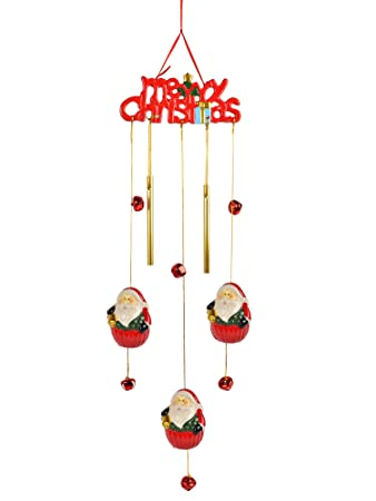 Oxfox Wind Chime Christmas Decoration Wind Bell Home Decor Outdoor Garden  Patio Red