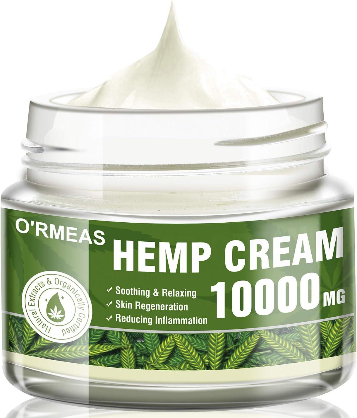 Hemp Cream for Pain Relief - Hemp Oil Extract & Hemp Cream Complex 10000 MG/ 4 oz- Emu Oil,Aloe Vera,Menthol,Rosemary oil ,Good for Muscle, Back, Knee Pain