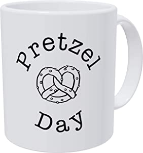 Grafeeks Pretzel Day, Office 11 Ounces Funny White Coffee Mug