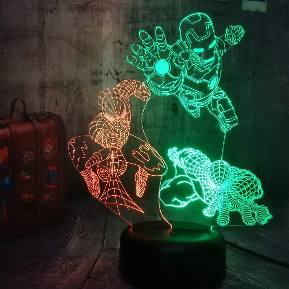 3D Phantom Night Light Superman de hierro Luz de ilusión de 7 colores Niños Dormitorio Lámpara de mesa para Niño Niña Regalo de cumpleaños Decoración para el hogar Luz regalo creativo