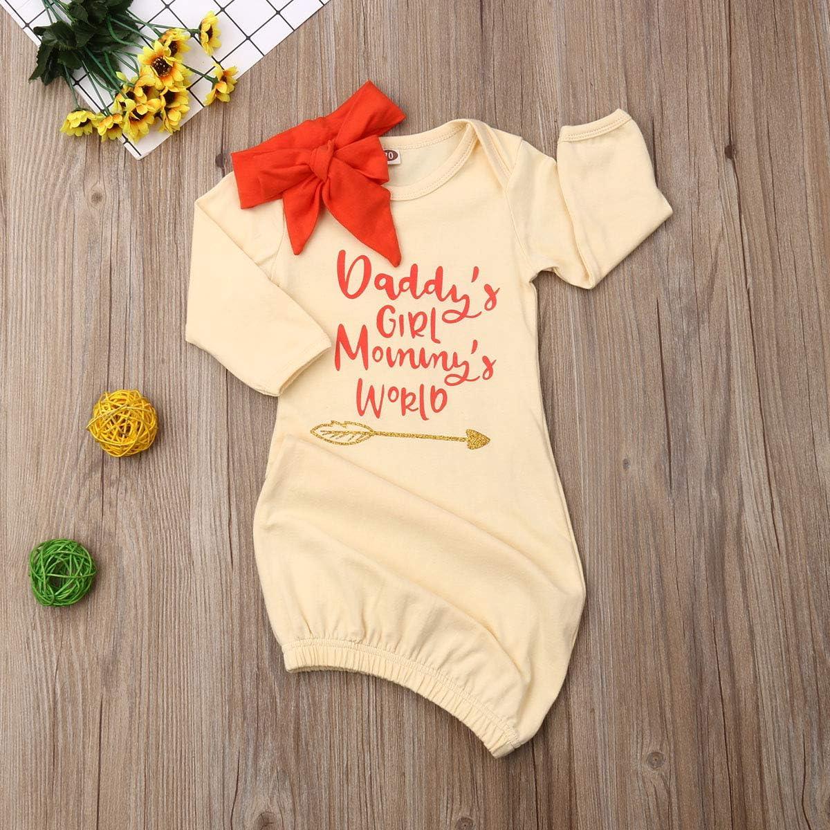 Newborn Baby Girl Sleepsack Daddys Girl Mommys World Nightgowns Headband Sleepwear Sleeping Bag