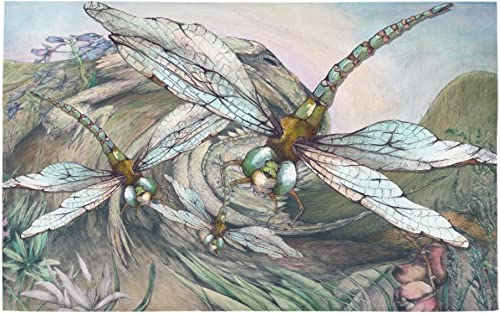 INTERESTPRINT Watercolor Dragonfly Swarm Painting House Decor Non Slip Bath Rug Mat Absorbent Bathroom Floor Mat Doormat Large Size 20 x 32 Inches