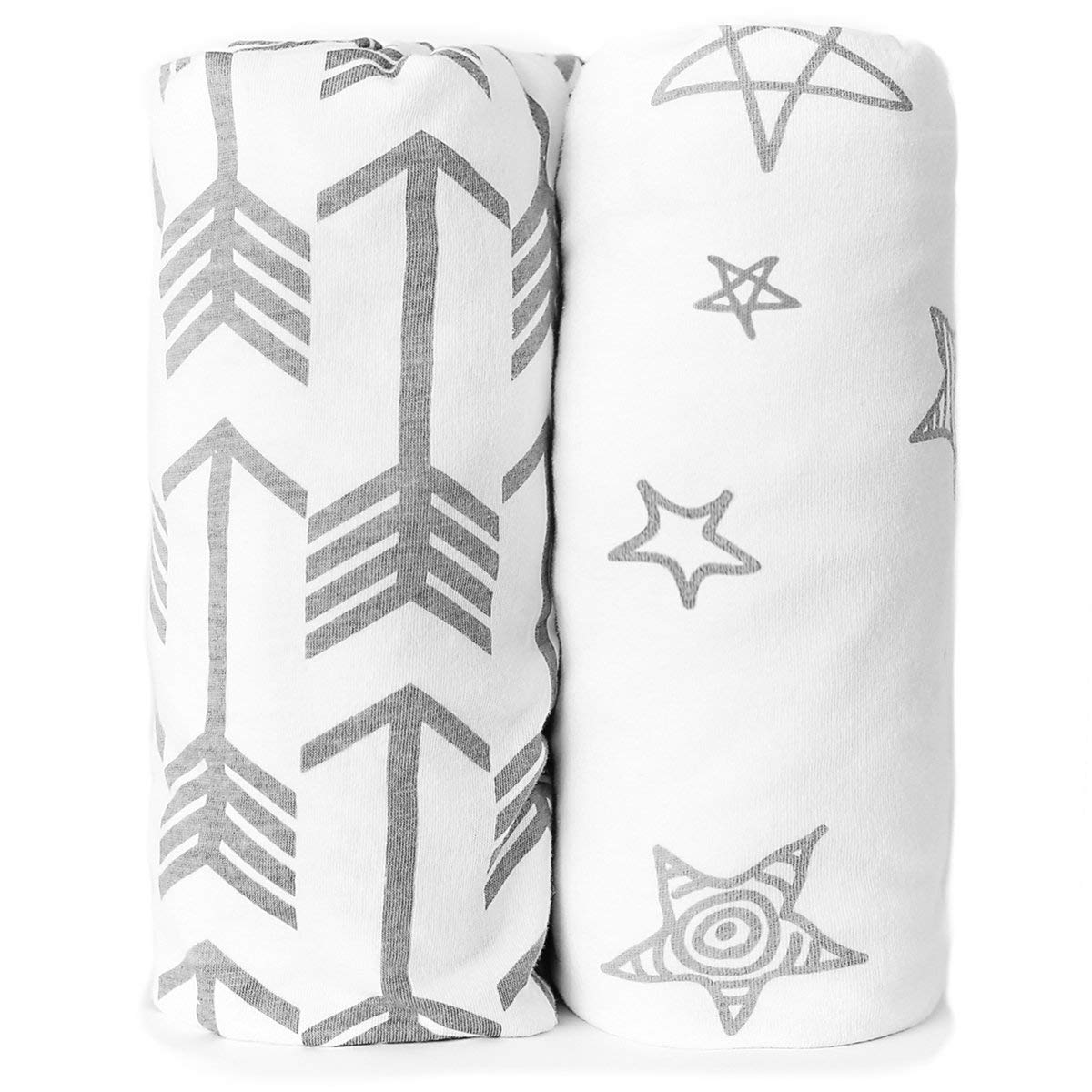 Bassinet Sheets - Fitted, Premium Jersey Cotton - Baby Bedside Sleeper Cover - Universal Sheet Set for Rectangle, Oval, or Hourglass Bassinet Mattress - White 2 Pack for a Girl or Boy - Arrow Stars Kids N' Such BASS-ARROWS-STARS