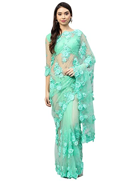 db07941f749e80 AKHILAM Women's Net Embellished Saree with Unstitched Blouse Piece (Sea  Green_SAR15686A): Amazon.in: Clothing & Accessories