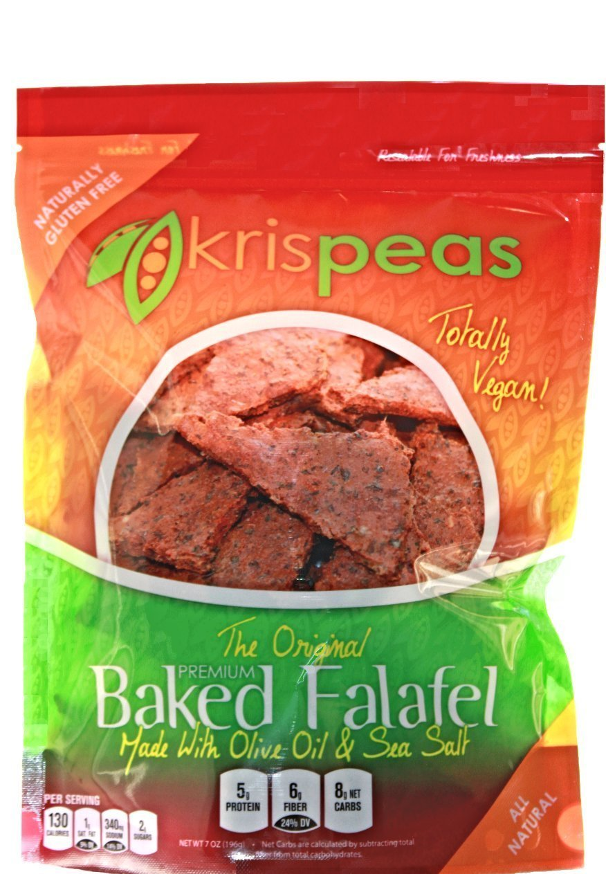 krispeas Baked Split Pea and Flax Falafel Chips - Spicy Flavor, High Protein, Low Carb, Vegan & Gluten Free (Pack of 2)