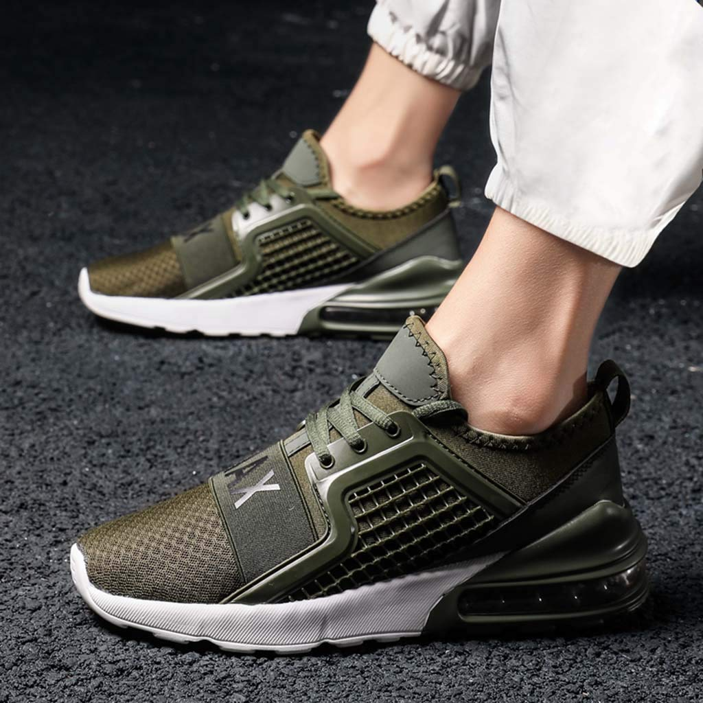 Men's Athletic Sneakers Summer Mesh Breathable Lightweight Shoes Casual Air Cushion Slip On Running Workout Gym Sock Shoe (Green, US:11) by Cealu (Image #4)