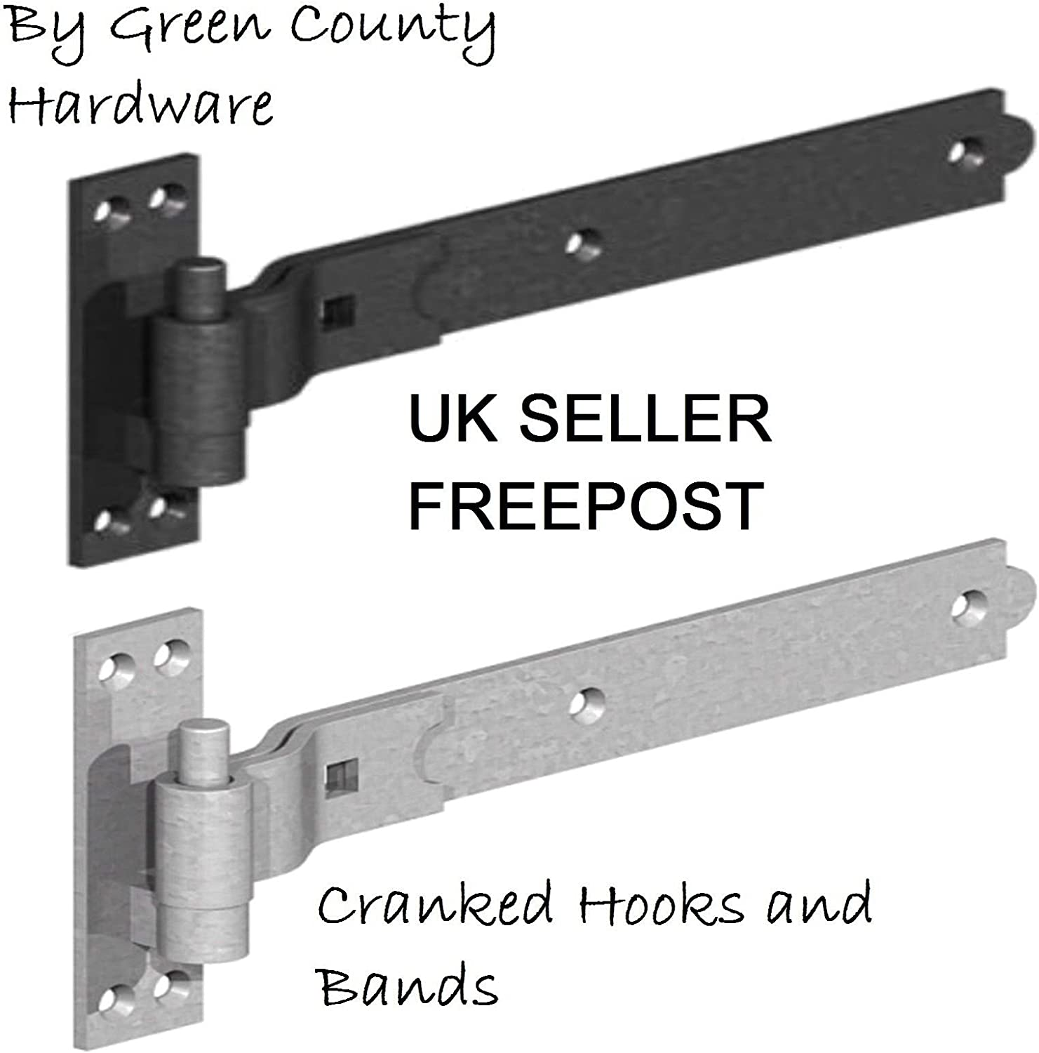 Contemporary Style Lamps Heavy Duty Hook and Band Gate Stable Shed Door Straight Hinges 300mm // 12 Black