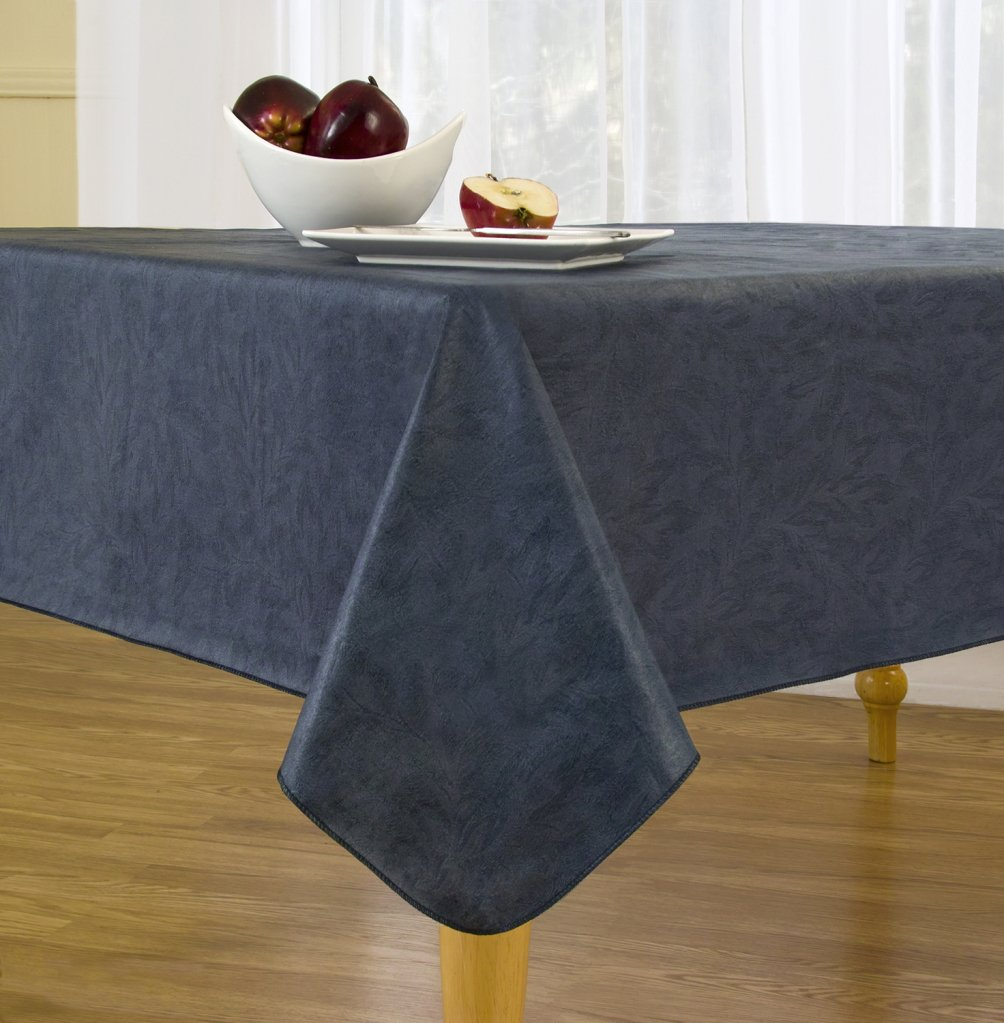 EVERYDAY LUXURIES Sonoma Damask Print Flannel Backed Vinyl Tablecloth, 52-Inch by 70-Inch Oval, Navy