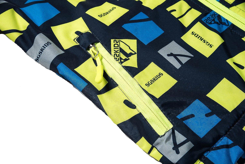 Echinodon Boys Girls Fleece Lined Jacket with Hood Windproof Water-Repellent Breathable Outwear Jacket
