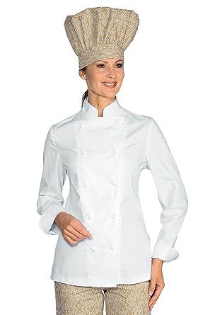 Bianco 150 gr//m/² S Isacco Giacca Lady Chef Bianco 65/% Poliestere 35/% Cotone Mezza Manica