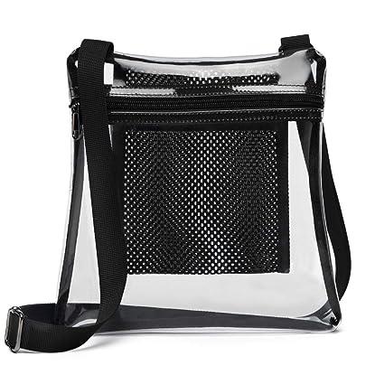 e2dcc931cc9b Veckle Clear Bag, Clear Crossbody Messenger Bag NFL Stadium Approved Clear  Purse Transparent Shoulder Bag with Adjustable Strap Mesh Pocket for ...