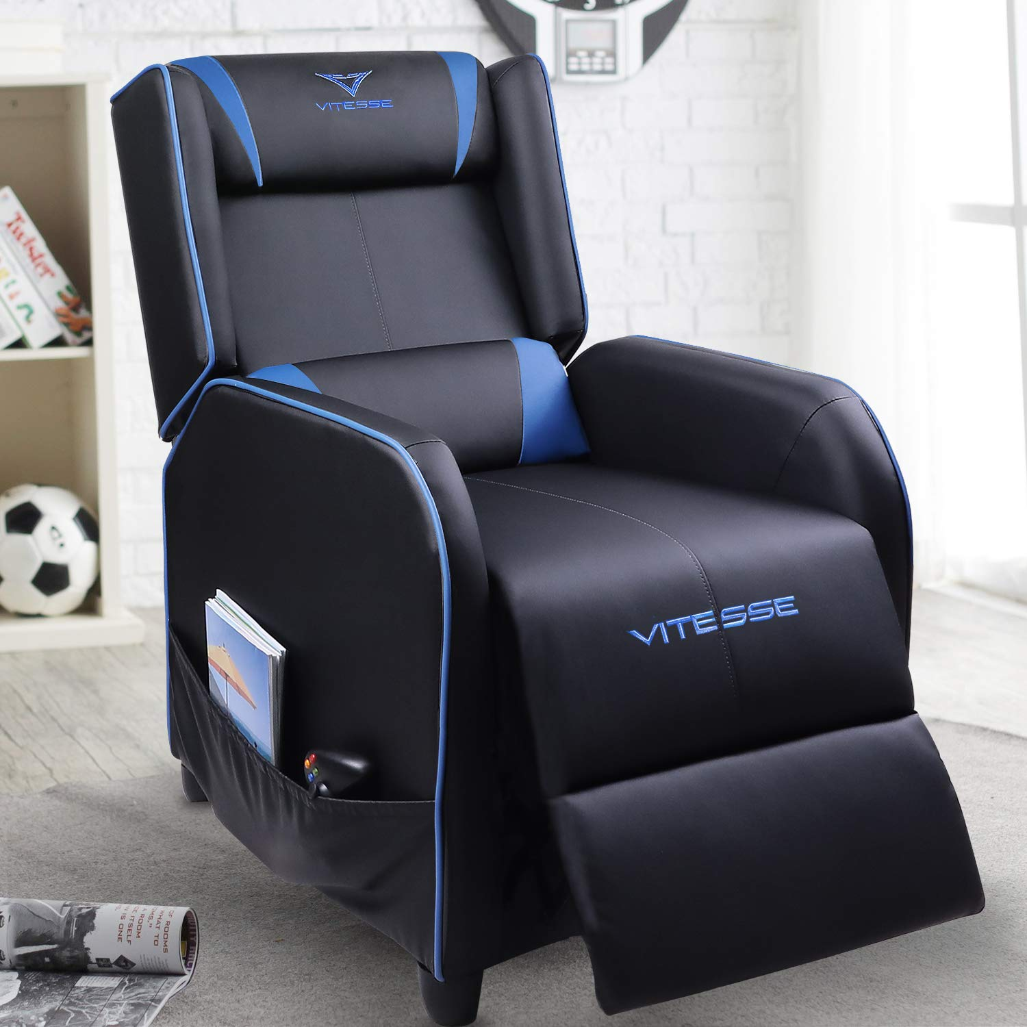 VIT Gaming Recliner Chair Racing Style Single PU Leather Sofa Modern Living Room Recliners Ergonomic Comfortable Home Theater Seating (Blue) by Vitesse