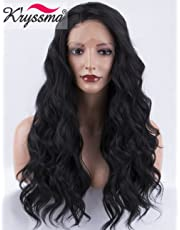 K'ryssma Natural Looking #1B Long Lace Wigs for Women, Heat Resistant Wavy Natural Black Synthetic Wig Daily Used Half Hand Tied 22 Inch