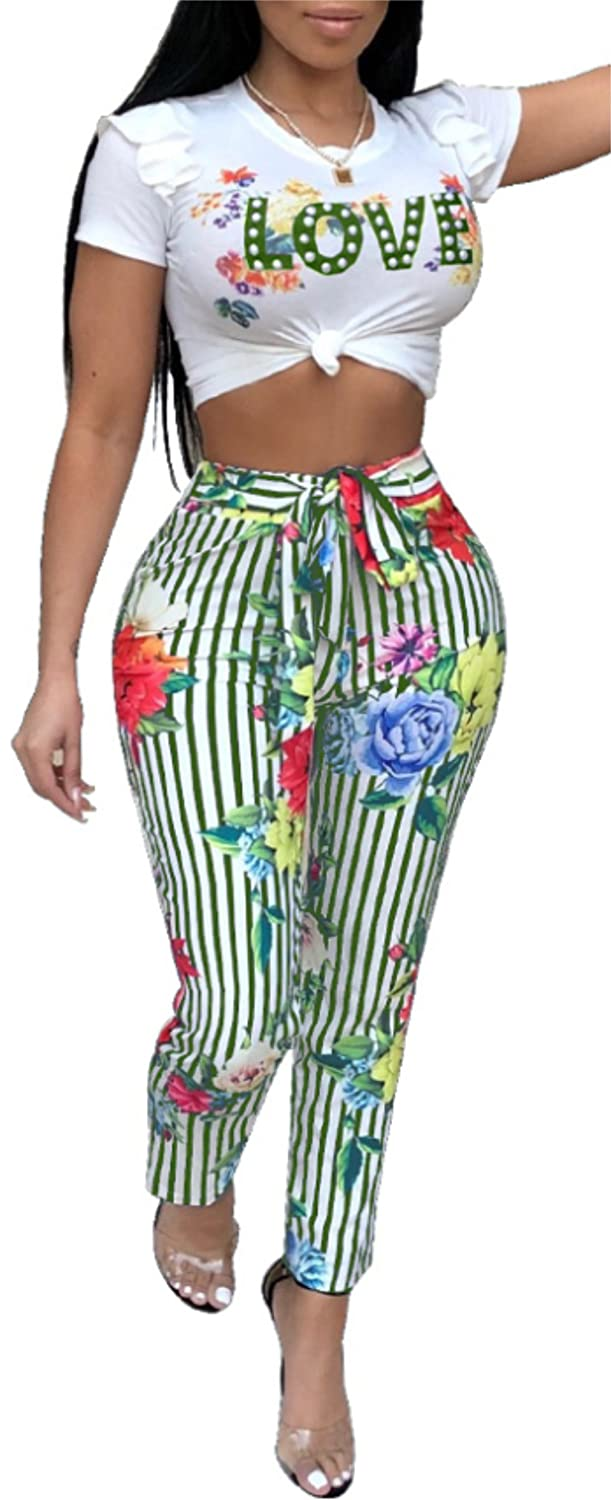 Shinfy Womens 2 Pieces Outfits Crop Tops Long Leg Pants with Belt Rompers