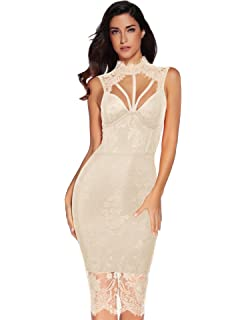 aa935452d1e Meilun Womens Rayon Lace Patchwork Sleeveless Bandage Bodycon Club Party  Dress