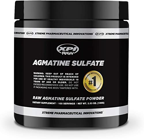 XPI Raw Agmatine Sulfate Powder 100 Grams, 100 Servings – Improve Strength, Build Muscle, Made in The USA
