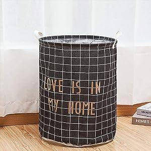 Extra Large Collapsible Laundry Storage Basket Hamper, Round Drawstring Waterproof Home Organizer Bin for Clothing,Toys,Nersury Laundry Hamper (Black, Style2)