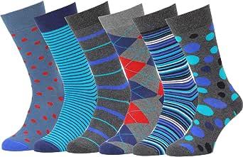 Easton Marlowe Calcetines Hombre Algodon 6 Pares Calcetines Estampados Hombre, Unisex Mujer Regalos Calidad Europea