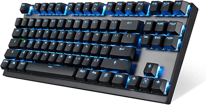 2.4GHz Wireless/USB Wired Mechanical Keyboard 87Keys Led Backlit Blue Switches Gaming Keyboard for Gaming and Typing,Compatible for Mac/PC/Laptop