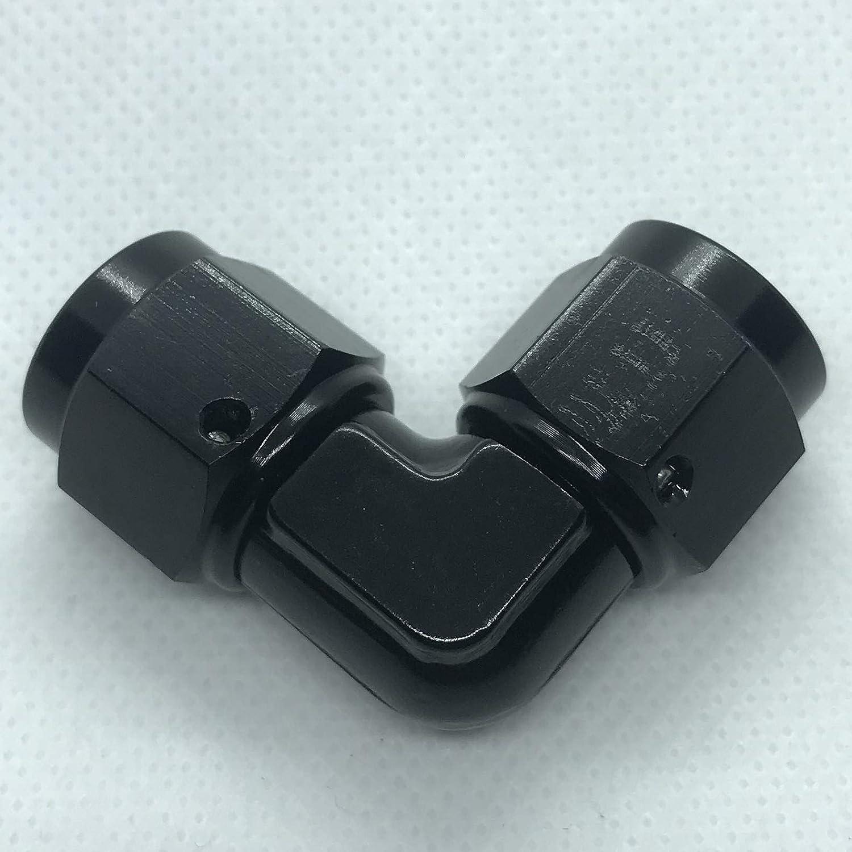 Aluminum 90 Degree 3AN Female to 3 AN Male Flare Hose Union Fuel Line Bulkhead Fitting Adapters Black
