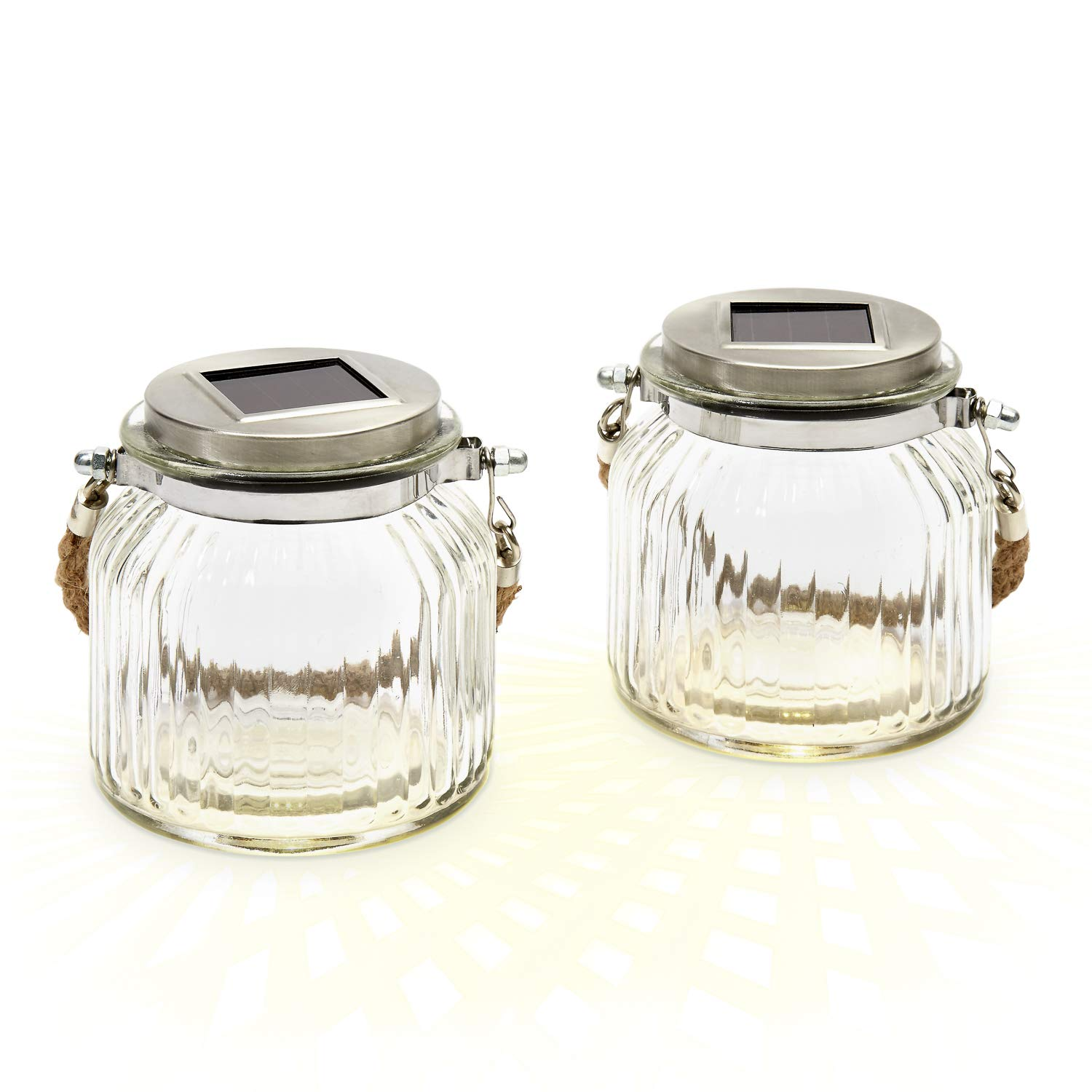 LampLust 2 Glass Solar Lighted Jars with Warm White LEDs, Nautical Rope Handles, Rechargeable Battery Included by LampLust