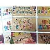 Adesivi di auguri di buon compleanno, autoadesivi dorati per biglietti buste e decorazioni.