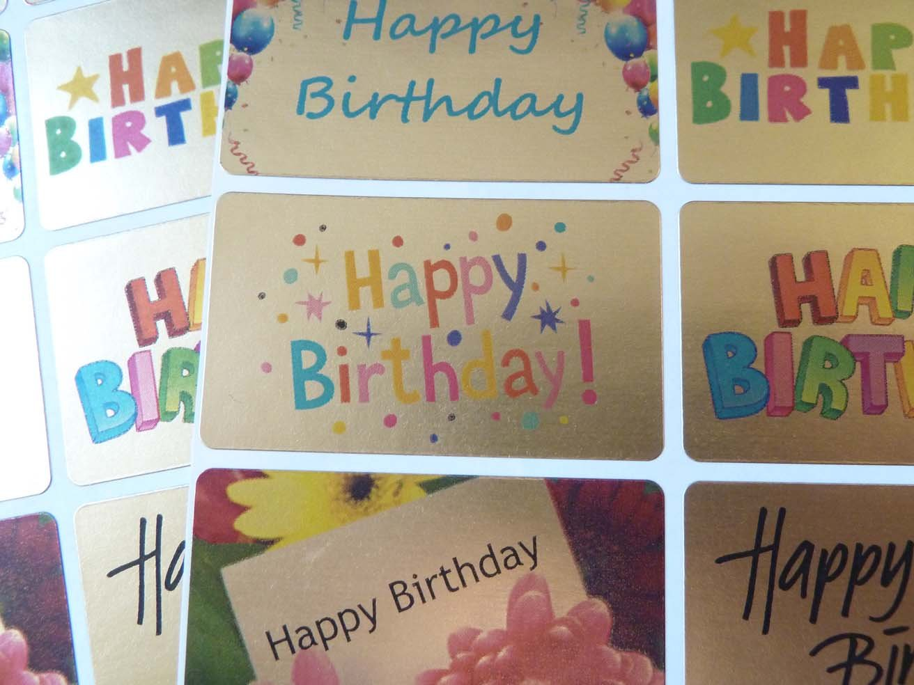 Happy Birthday Greeting Stickers Gold SelfStick Labels for Cards