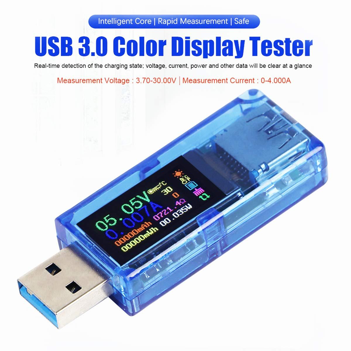 USB 3.0 Testeur Multimètre 3.7-30 V 0-4A USB Testeur de Tension USB Numérique Courant et Voltage Testeur Mètre Voltmètre Ampèremètre IPS Couleur Capacité D'affichage Puissance Chargeur Détecteur AT34