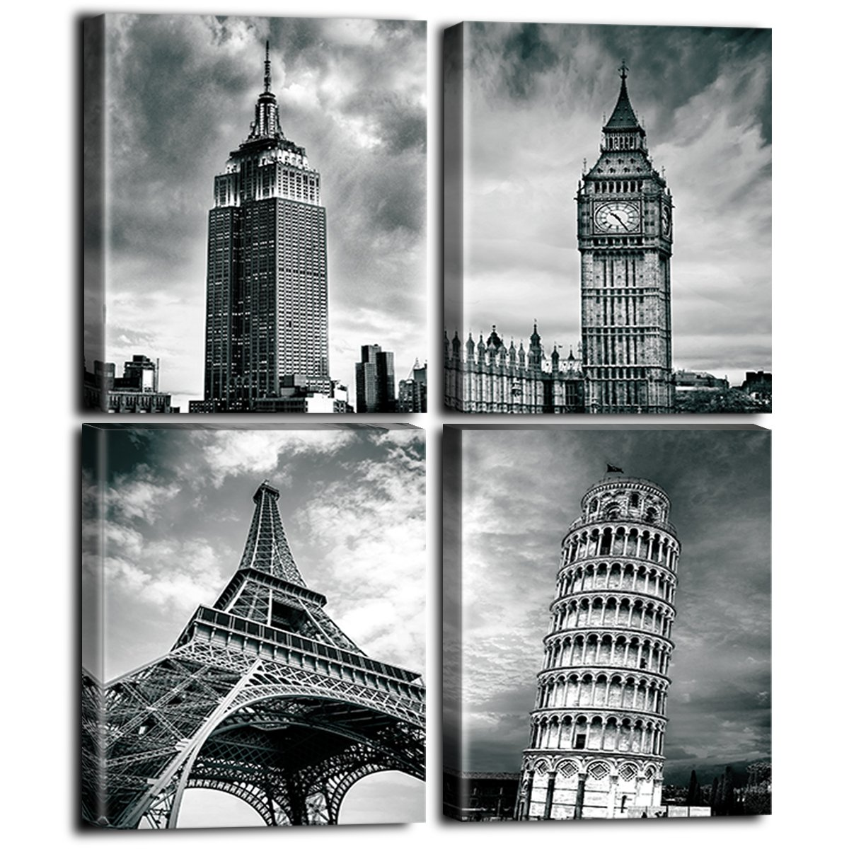Architectures wall art paris home decor modern giclee canvas prints photos 4 panels black white buildings world famous attractions landscape landmark
