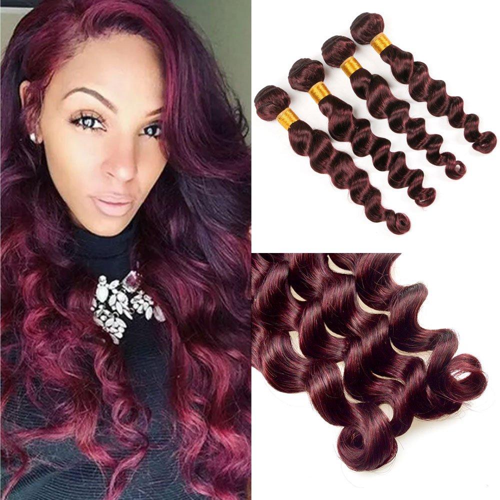 Barroko Hair Burgundy Weave Extensions Loose Wave 99j Colored 100
