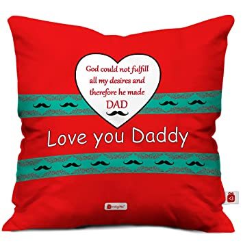 Indigifts Fathers Day Gifts From Daughter Love You Daddy Beautiful Cushion Cover 12x12 Inches With Filler