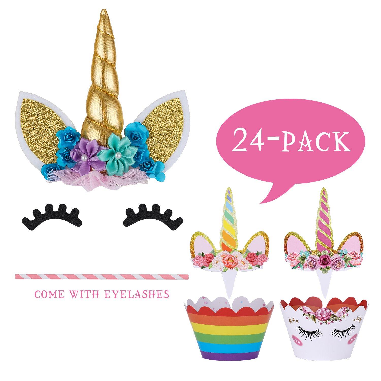 Unicorn Cake Topper with Eyelashes and Unicorn Cupcake Toppers & Wrappers - Unicorn Party Decoration Kit for Birthday, Baby Shower and Wedding by Hiware (Image #2)