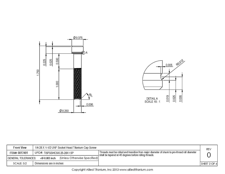 673864001 Ti-6Al-4V 1//4-28 X 1-1//2 UNF Socket Head Cap Screw Pack of 6 Grade 5 Inc Allied Titanium 0017491,