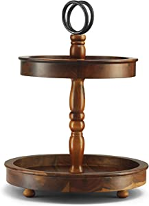 Two Tier Tray Stand - 2 Tiered Cake Stand - Table Kitchen Tray Wooden with Metal Round Decorative Handle. Cake, Cupcake, Cookie, Food and Party Display (Acacia Wood)