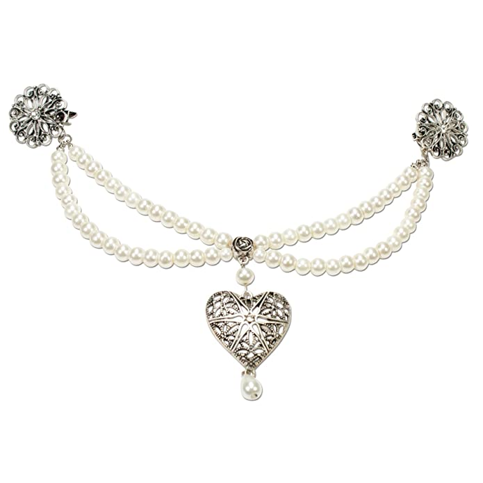 Alpenflüstern Damen Broschen-Perlen-Charivari Lara cremeweiß DCH01100010