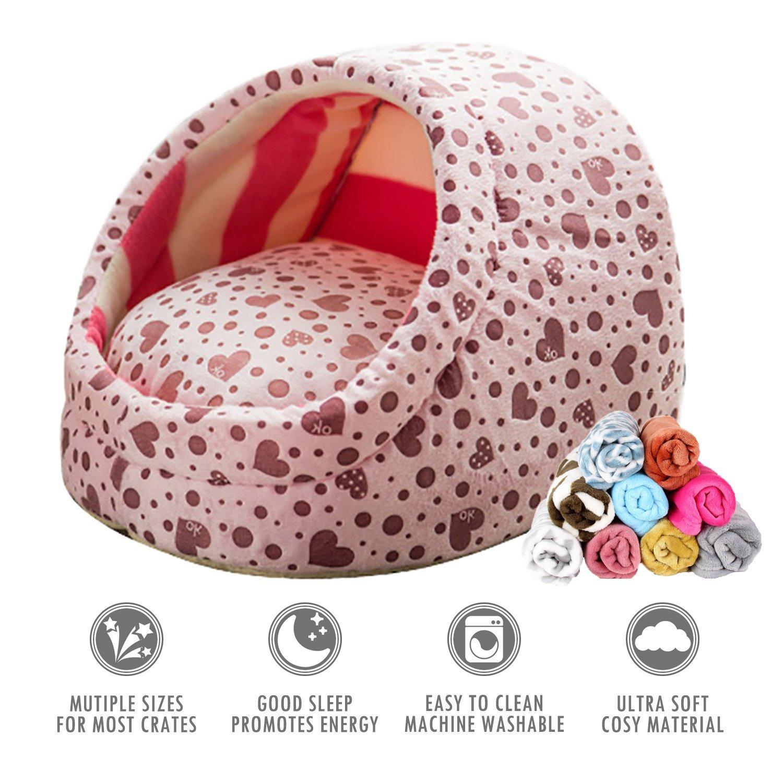 EEvER Cómoda Cama Lavable para Mascotas Cama de Gato Cojín de Cama para Perro pequeño con Suave Manta Rosa: Amazon.es: Productos para mascotas