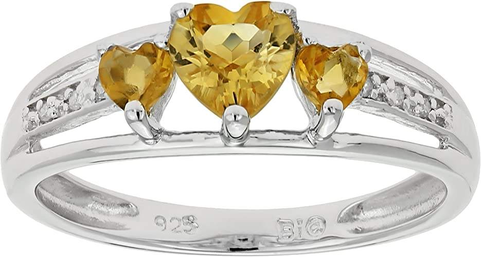 1 Ct Citrine Heart Ring .925 Sterling Silver