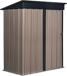PUPZO Storage Shed Steel Metal with Lock Waterproof Outdoor Backyard Garden House Lawn Tool Brown (5'W x 3'D x6'H)
